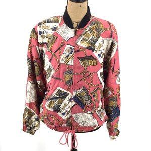 Vintage Bomber Jacket M Silk Book Literary Retro